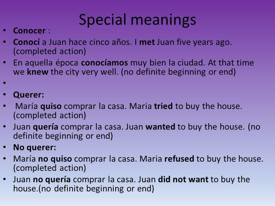 Special meanings Conocer :