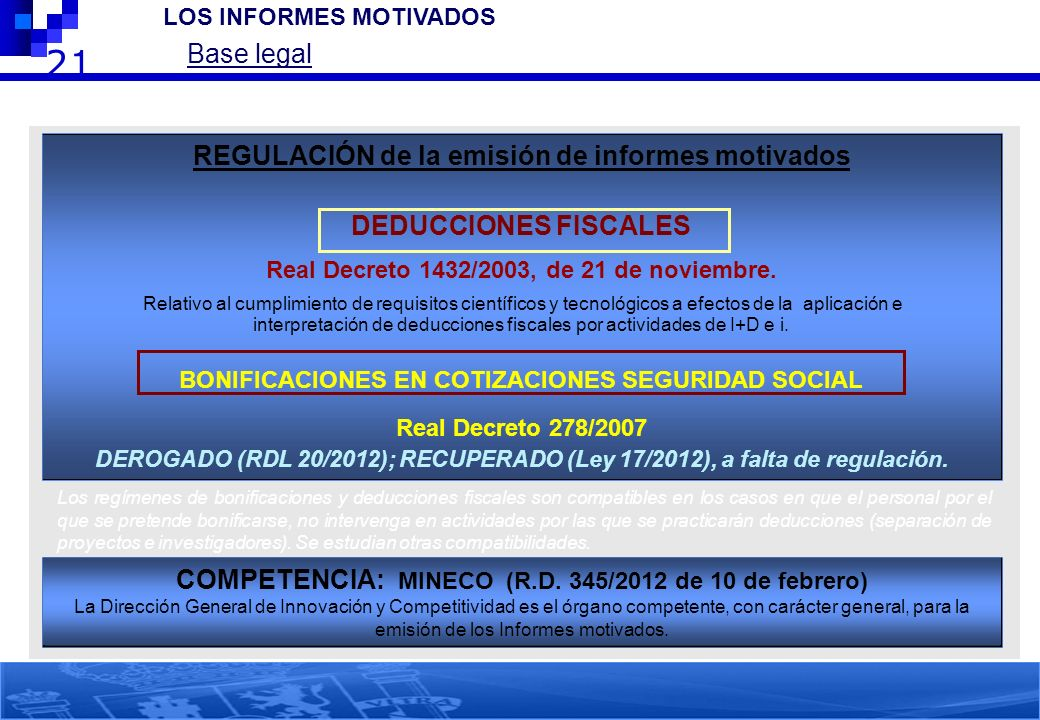 21 Base legal REGULACIÓN de la emisión de informes motivados