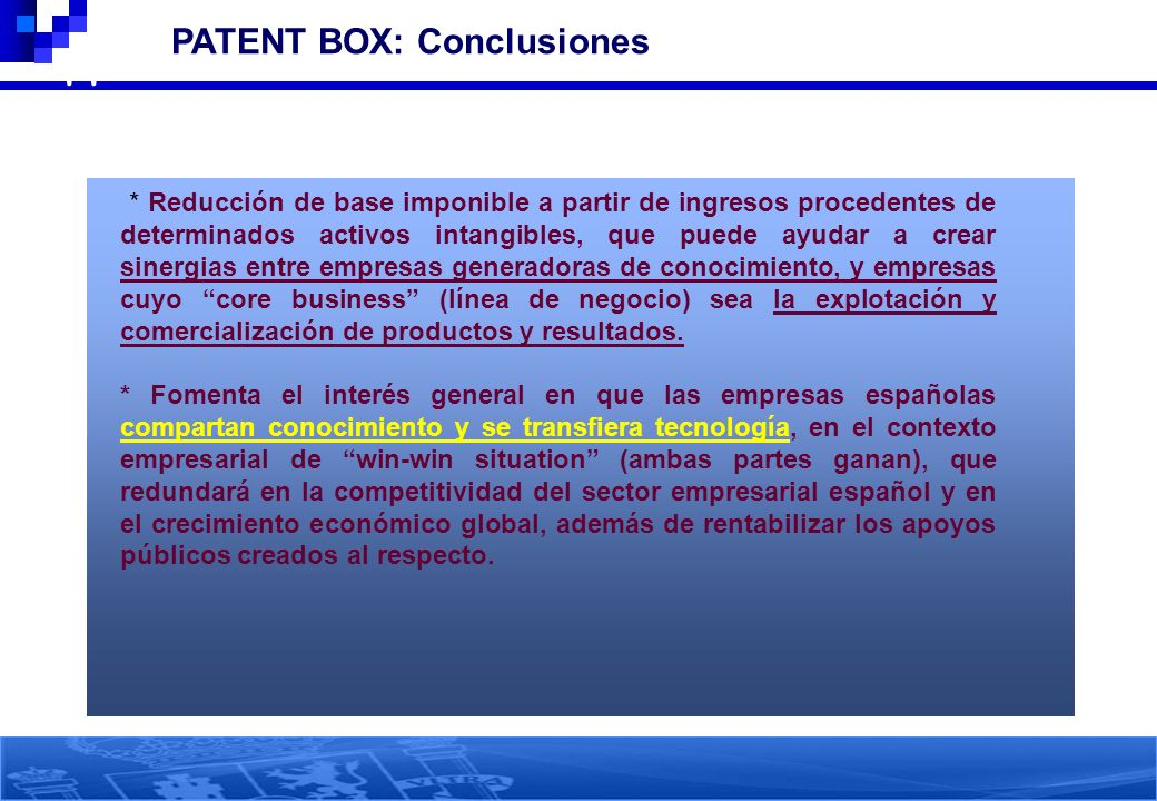 44 PATENT BOX: Conclusiones
