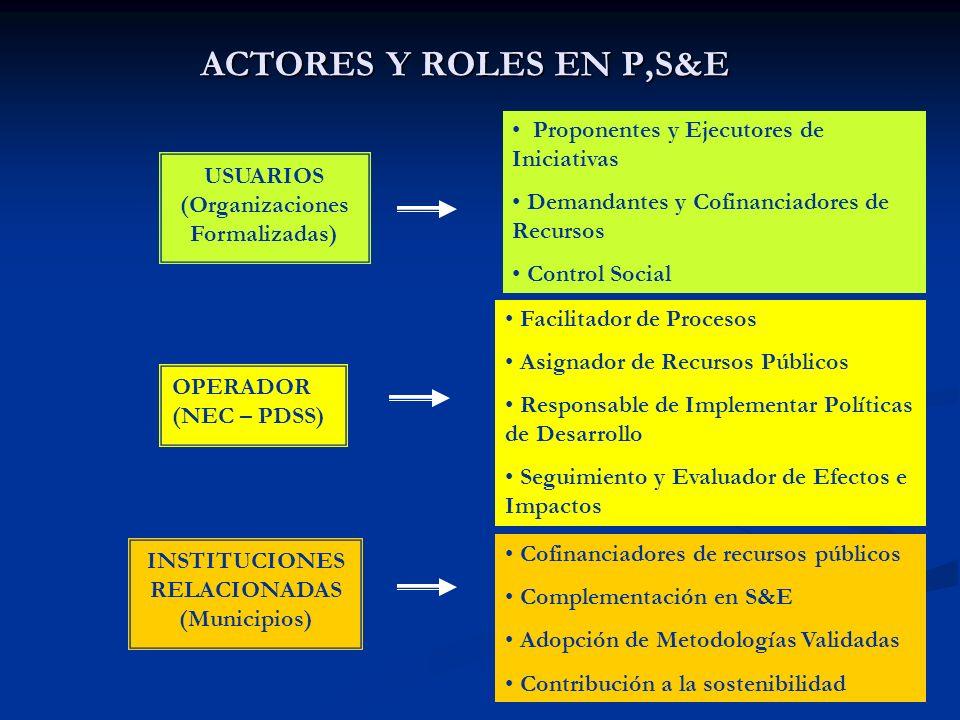 ACTORES Y ROLES EN P,S&E Proponentes y Ejecutores de Iniciativas