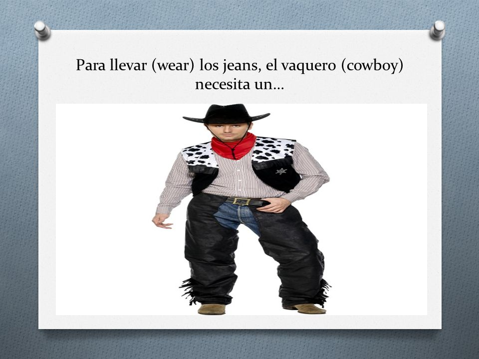 Para llevar (wear) los jeans, el vaquero (cowboy) necesita un…