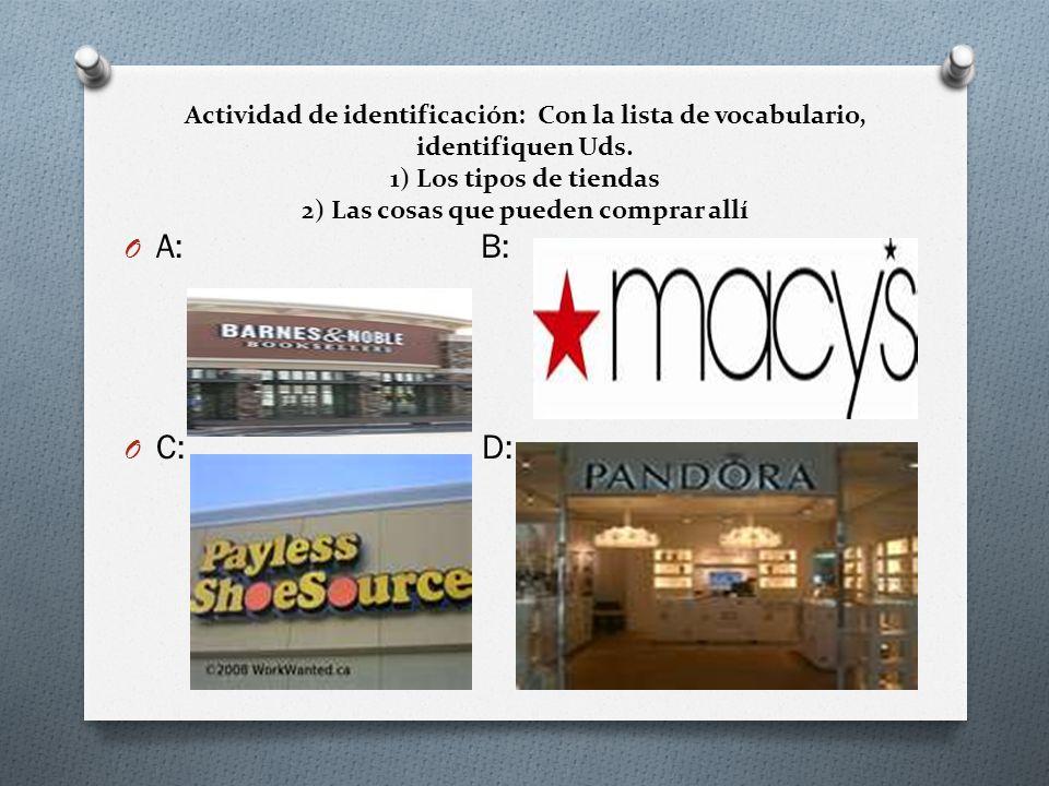 Actividad de identificación: Con la lista de vocabulario, identifiquen Uds. 1) Los tipos de tiendas 2) Las cosas que pueden comprar allí
