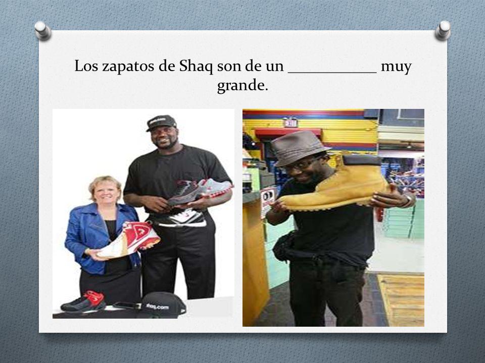 Los zapatos de Shaq son de un ___________ muy grande.