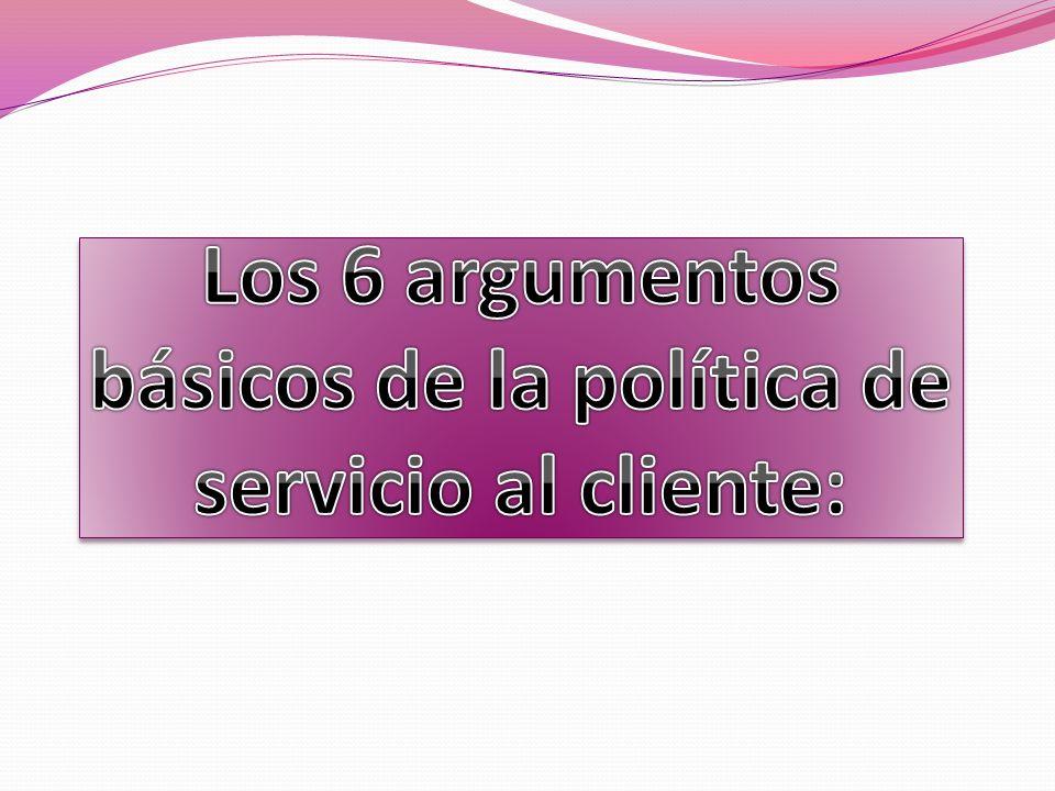 Los 6 argumentos básicos de la política de servicio al cliente: