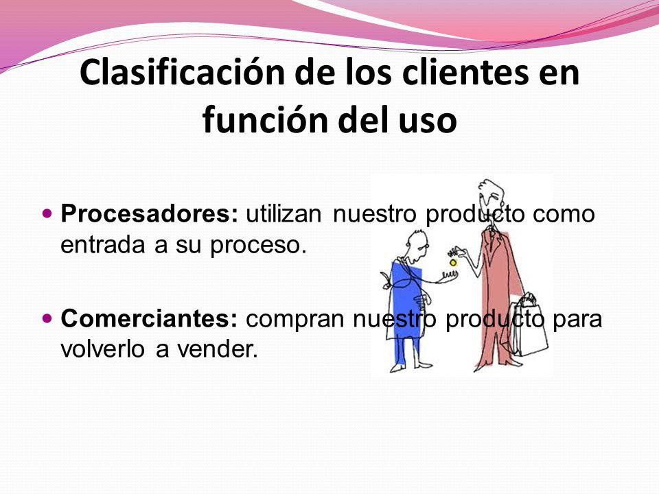 Clasificación de los clientes en función del uso
