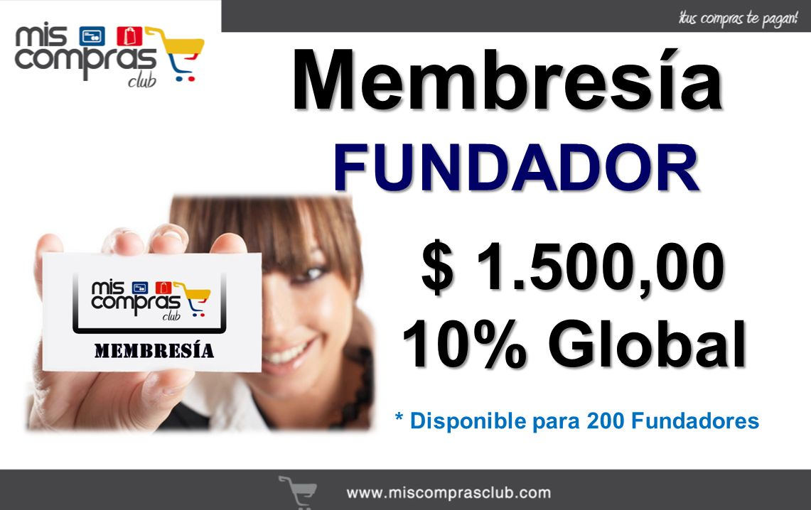 Membresía FUNDADOR $ 1.500,00 10% Global
