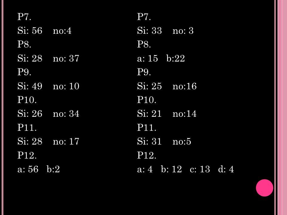 P7. Si: 56 no:4 P8. Si: 28 no: 37 P9. Si: 49 no: 10 P10
