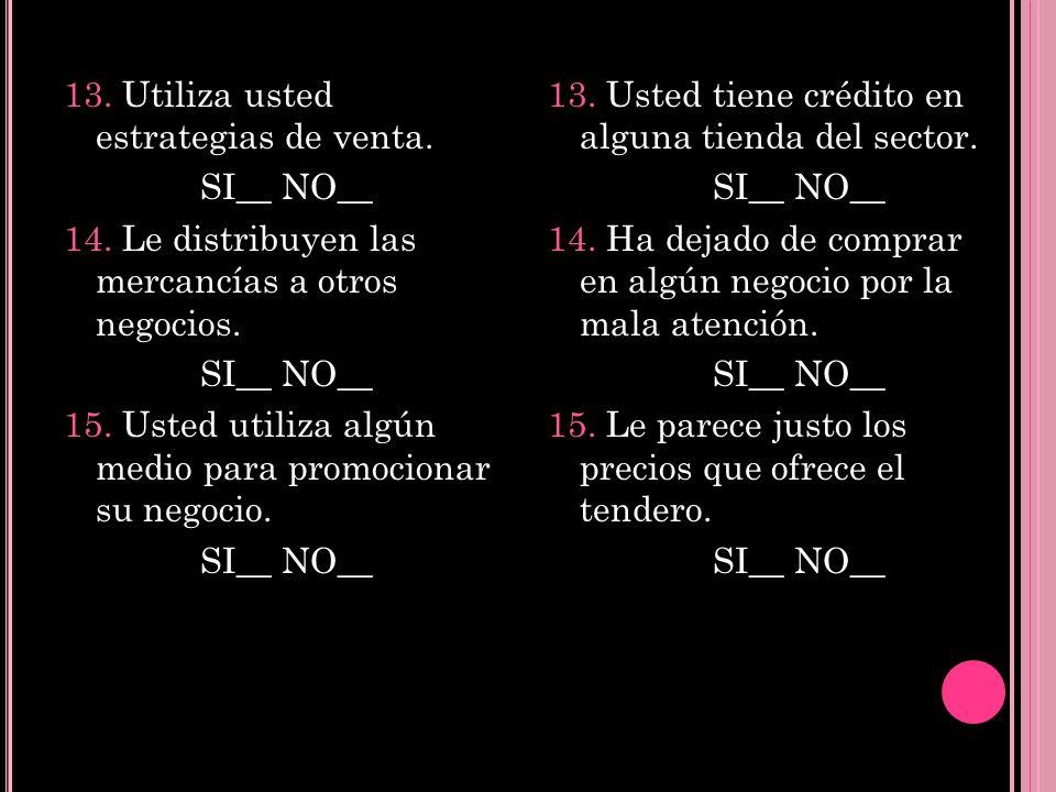 13. Utiliza usted estrategias de venta. SI__ NO__ 14