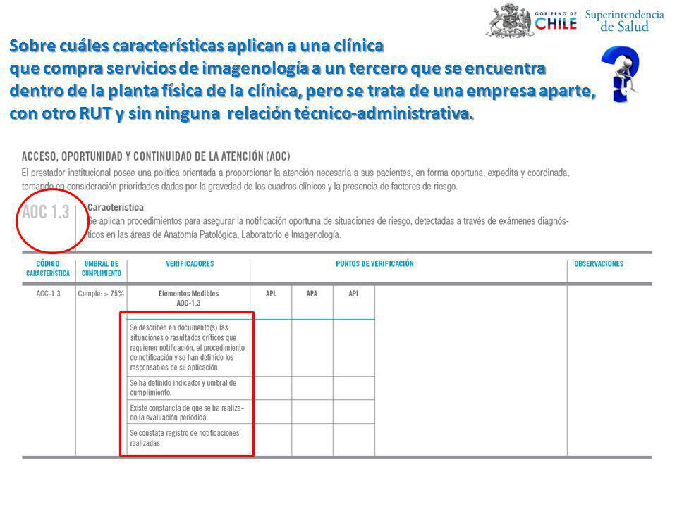 Sobre cuáles características aplican a una clínica