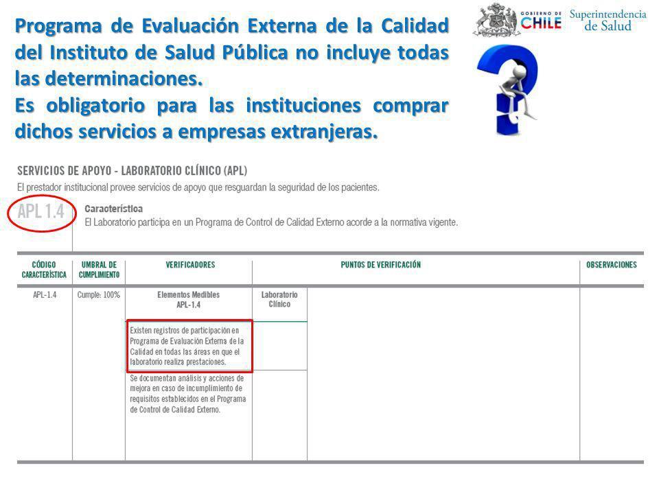 Programa de Evaluación Externa de la Calidad del Instituto de Salud Pública no incluye todas las determinaciones.