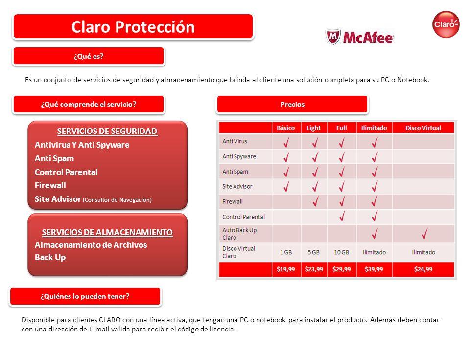 Claro Protección SERVICIOS DE SEGURIDAD Antivirus Y Anti Spyware