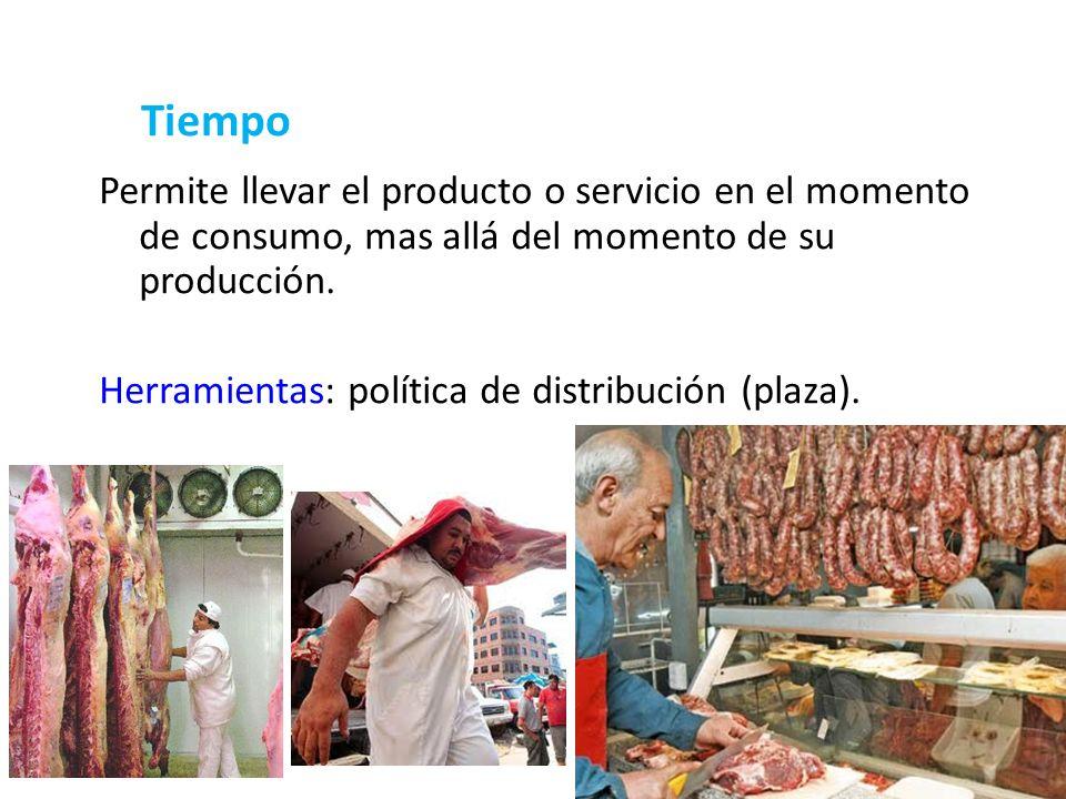 Tiempo Permite llevar el producto o servicio en el momento de consumo, mas allá del momento de su producción.