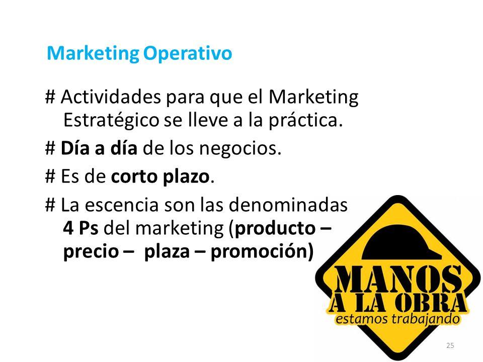 Marketing Operativo # Actividades para que el Marketing Estratégico se lleve a la práctica. # Día a día de los negocios.
