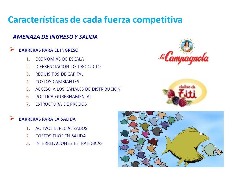 Características de cada fuerza competitiva