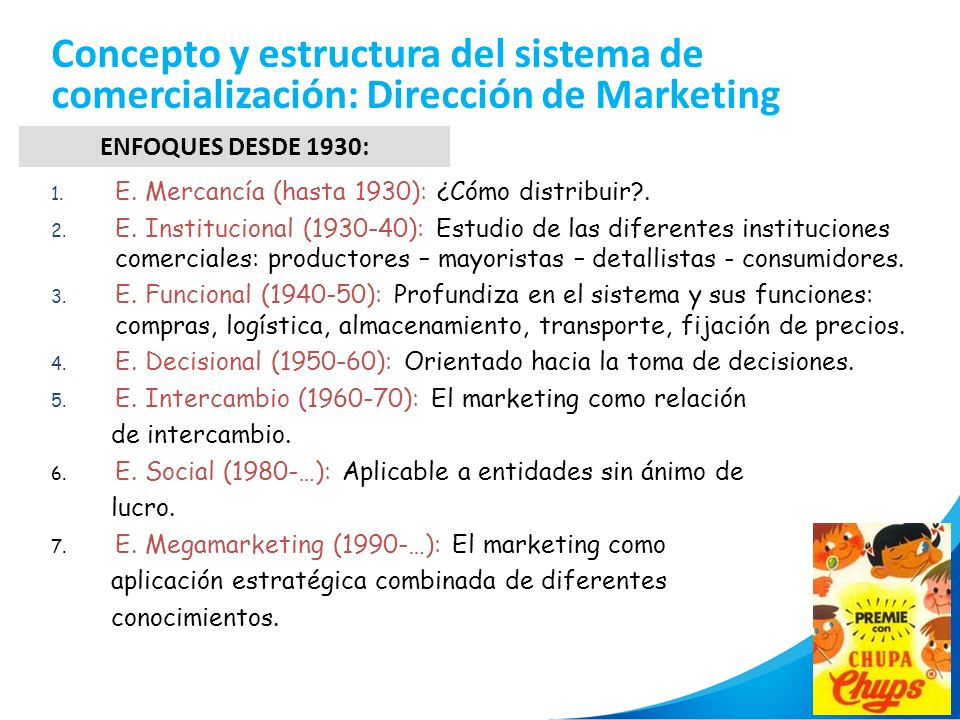 Concepto y estructura del sistema de comercialización: Dirección de Marketing
