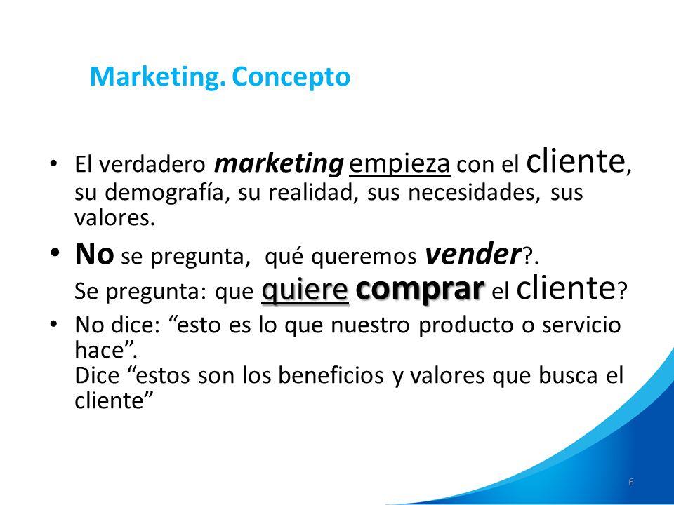 Marketing. ConceptoEl verdadero marketing empieza con el cliente, su demografía, su realidad, sus necesidades, sus valores.