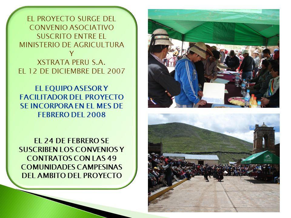 EL PROYECTO SURGE DEL CONVENIO ASOCIATIVO SUSCRITO ENTRE EL MINISTERIO DE AGRICULTURA Y