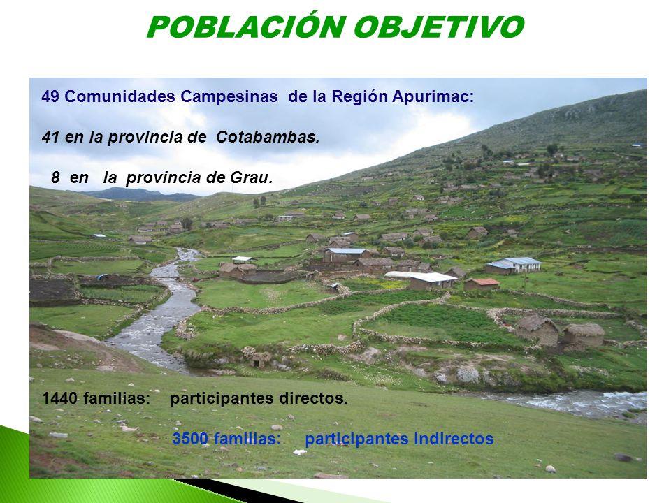 POBLACIÓN OBJETIVO 49 Comunidades Campesinas de la Región Apurimac: