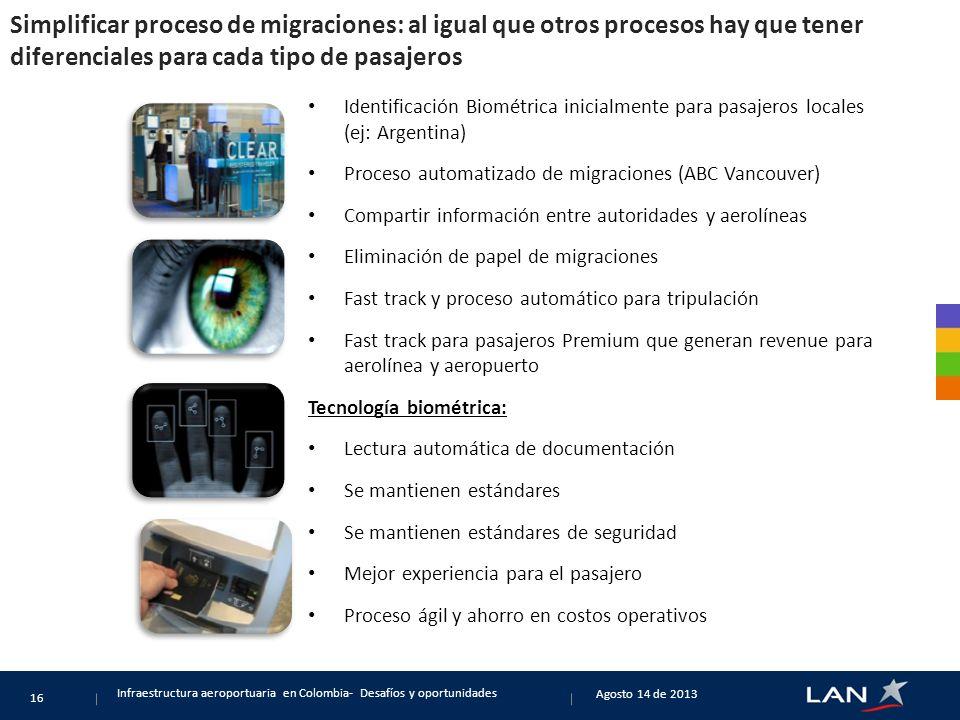 Simplificar proceso de migraciones: al igual que otros procesos hay que tener diferenciales para cada tipo de pasajeros