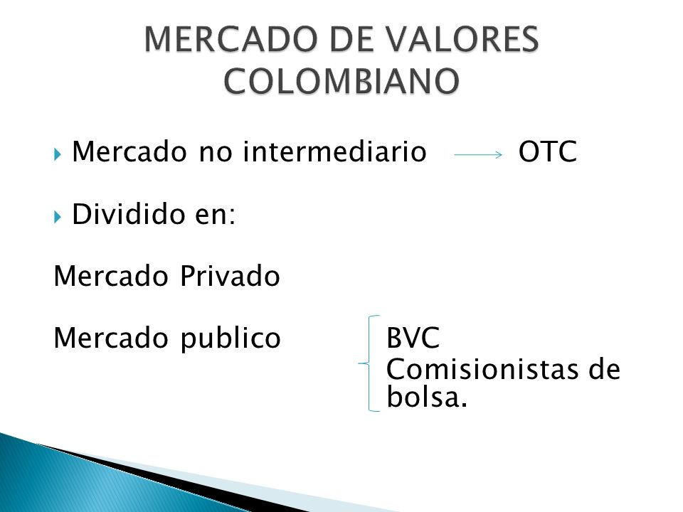 MERCADO DE VALORES COLOMBIANO