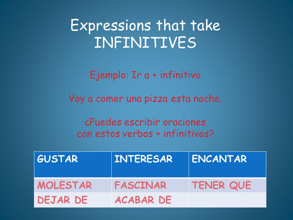 Expressions that take INFINITIVES