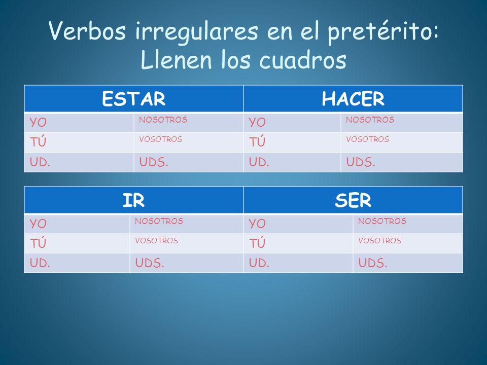 Verbos irregulares en el pretérito: Llenen los cuadros