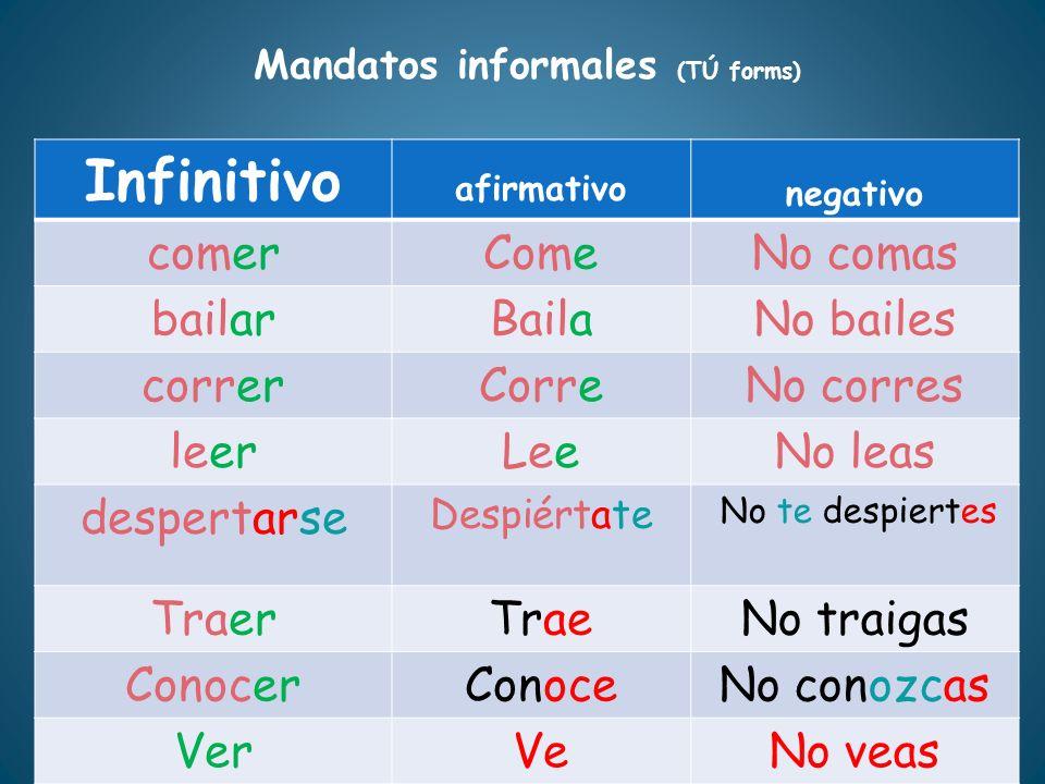 Mandatos informales (TÚ forms)