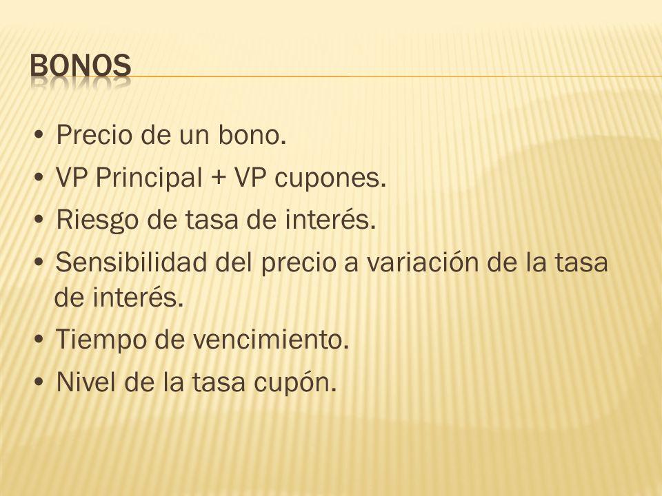 Bonos • Precio de un bono. • VP Principal + VP cupones.