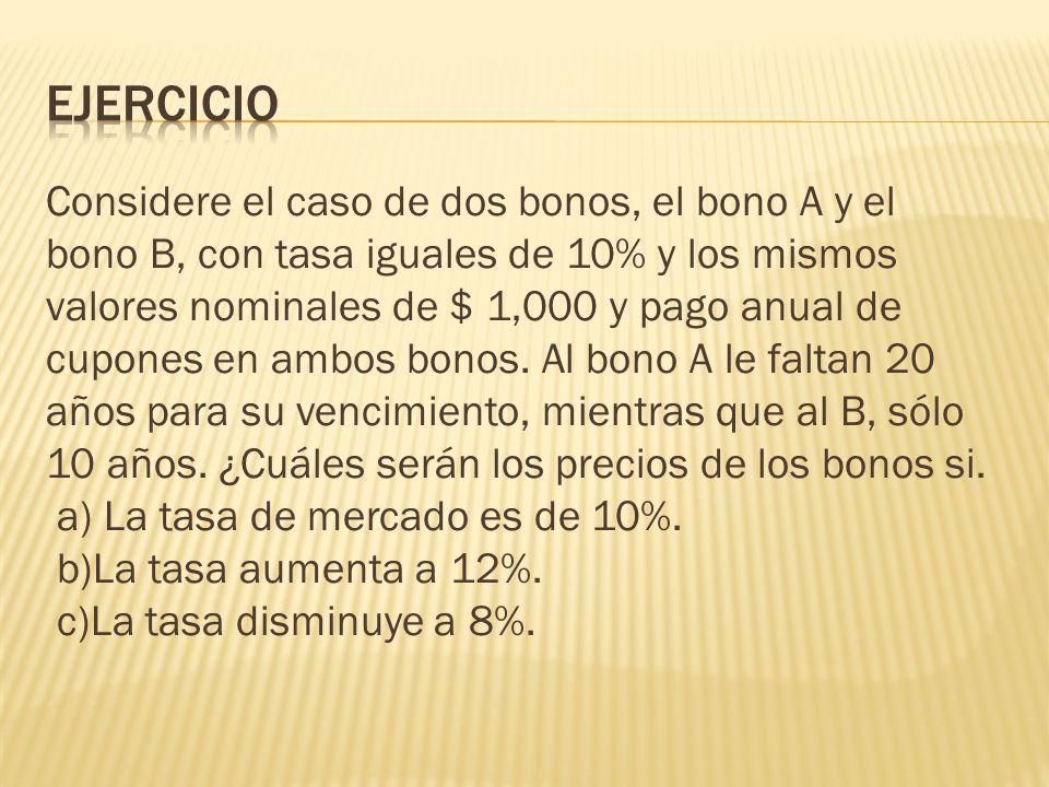 Ejercicio Considere el caso de dos bonos, el bono A y el