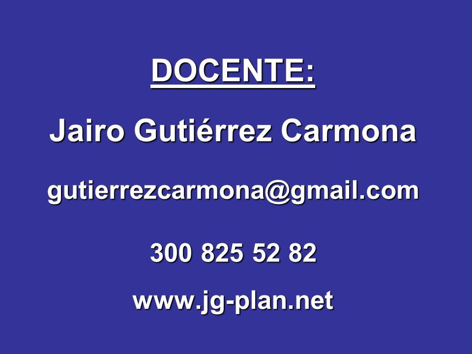 DOCENTE: Jairo Gutiérrez Carmona gutierrezcarmona@gmail