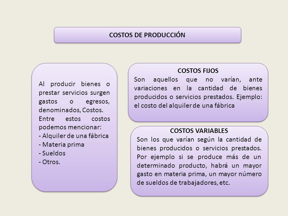 COSTOS DE PRODUCCIÓN Al producir bienes o prestar servicios surgen gastos o egresos, denominados, Costos.