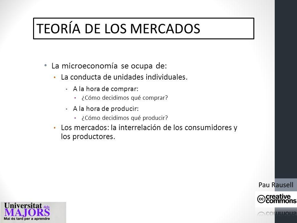 TEORÍA DE LOS MERCADOS La microeconomía se ocupa de: