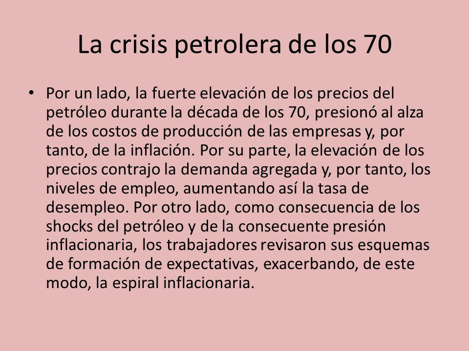 La crisis petrolera de los 70