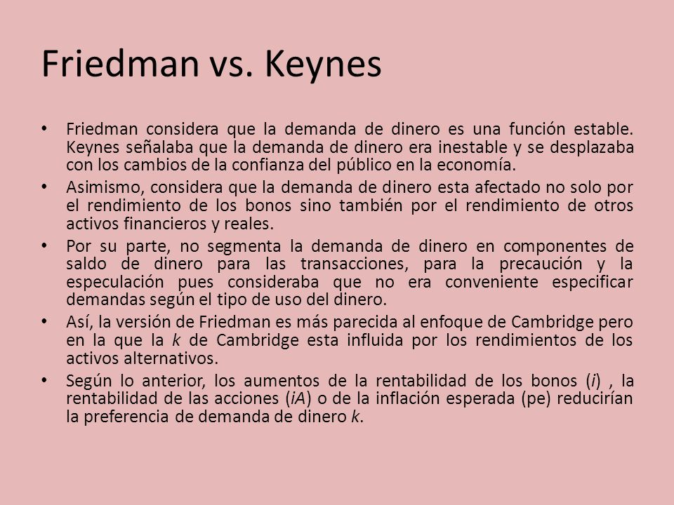 friedman vs keynes Back in the 1960s and 1970s, milton friedman challenged the keynesians over how monetary policy works (john maynard keynes was dead, so did not directly argue the point.