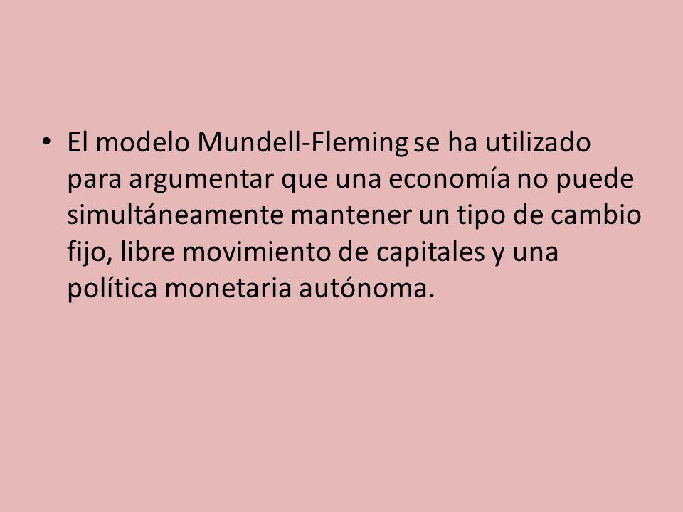 El modelo Mundell-Fleming se ha utilizado para argumentar que una economía no puede simultáneamente mantener un tipo de cambio fijo, libre movimiento de capitales y una política monetaria autónoma.