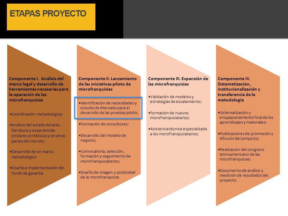 ETAPAS PROYECTO Componente I. Análisis del marco legal y desarrollo de herramientas necesarias para la operación de las microfranquicias.