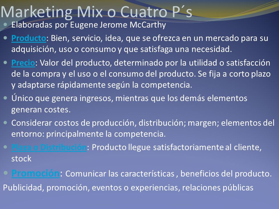 Marketing Mix o Cuatro P´s