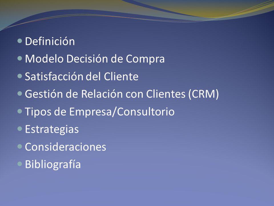 Definición Modelo Decisión de Compra. Satisfacción del Cliente. Gestión de Relación con Clientes (CRM)