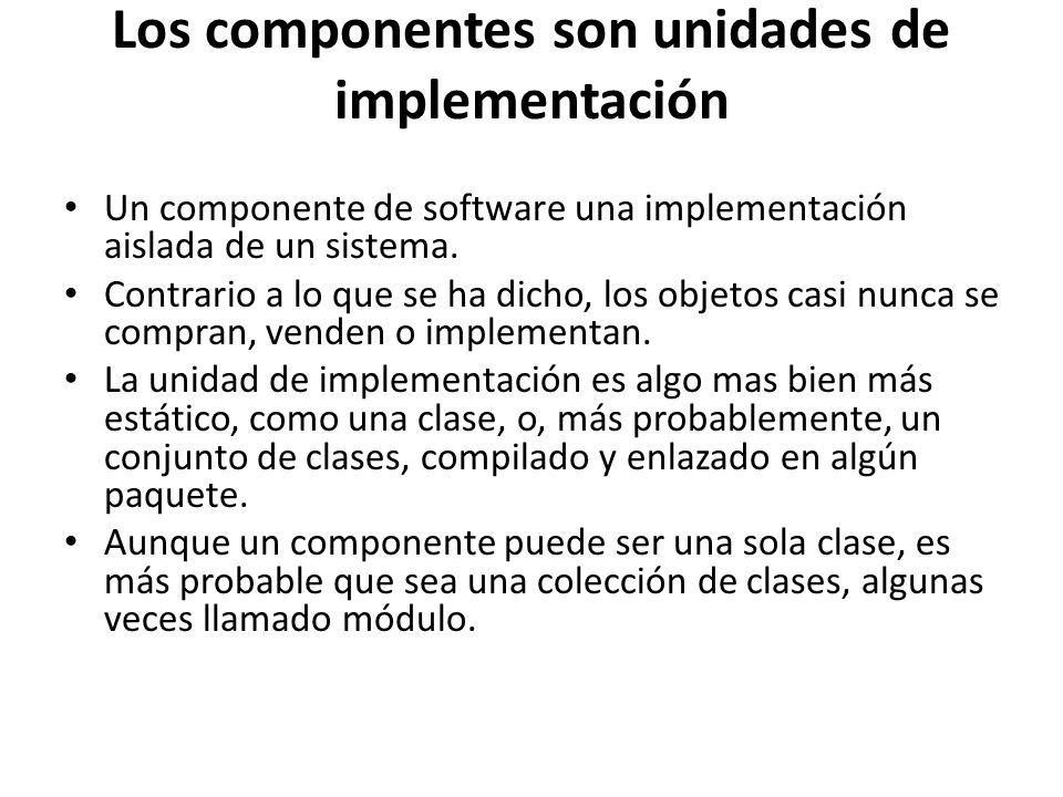 Los componentes son unidades de implementación