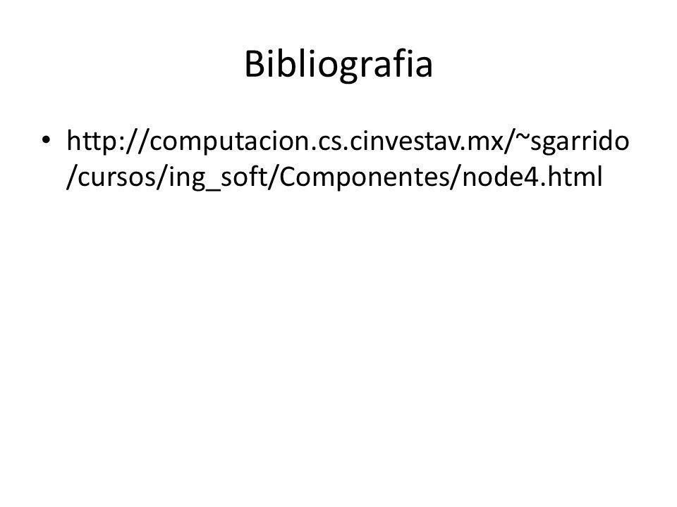 Bibliografia http://computacion.cs.cinvestav.mx/~sgarrido/cursos/ing_soft/Componentes/node4.html