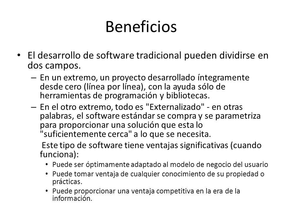 Beneficios El desarrollo de software tradicional pueden dividirse en dos campos.