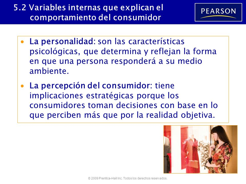 5.2 Variables internas que explican el comportamiento del consumidor