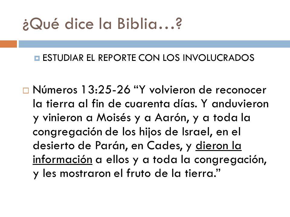 ¿Qué dice la Biblia… ESTUDIAR EL REPORTE CON LOS INVOLUCRADOS.