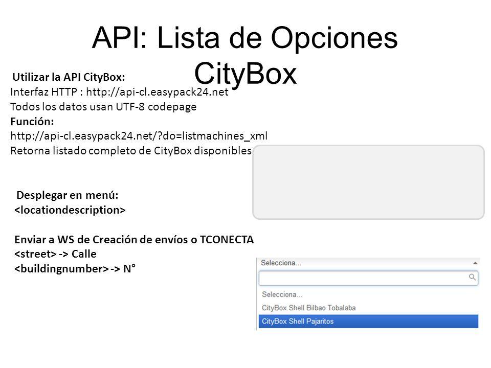 API: Lista de Opciones CityBox