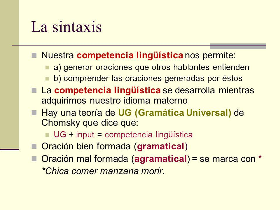 La sintaxis Nuestra competencia lingüística nos permite: