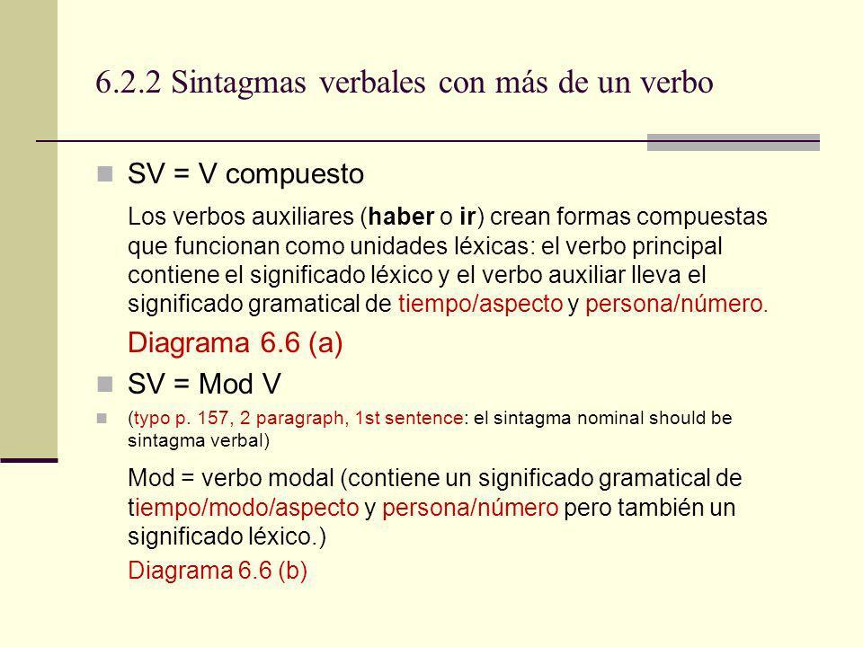 6.2.2 Sintagmas verbales con más de un verbo