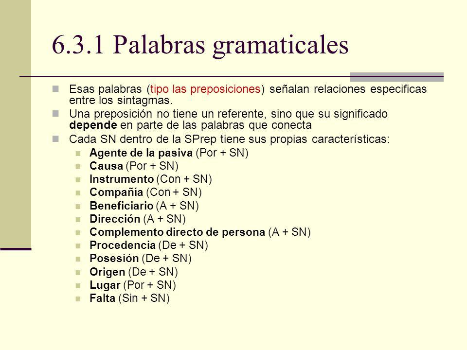 6.3.1 Palabras gramaticales