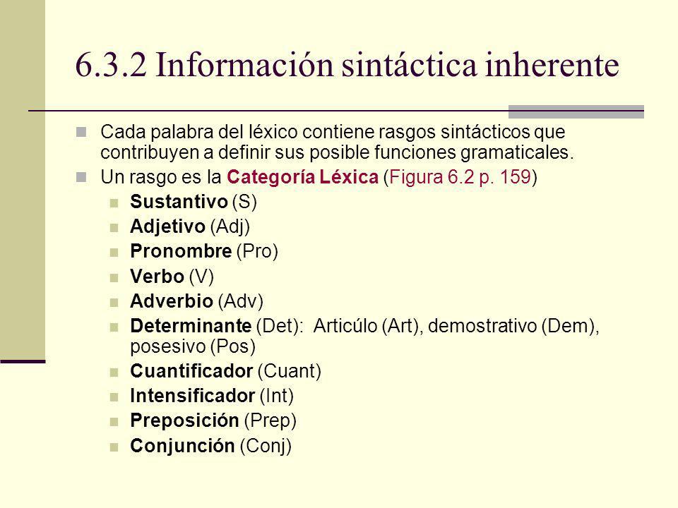 6.3.2 Información sintáctica inherente