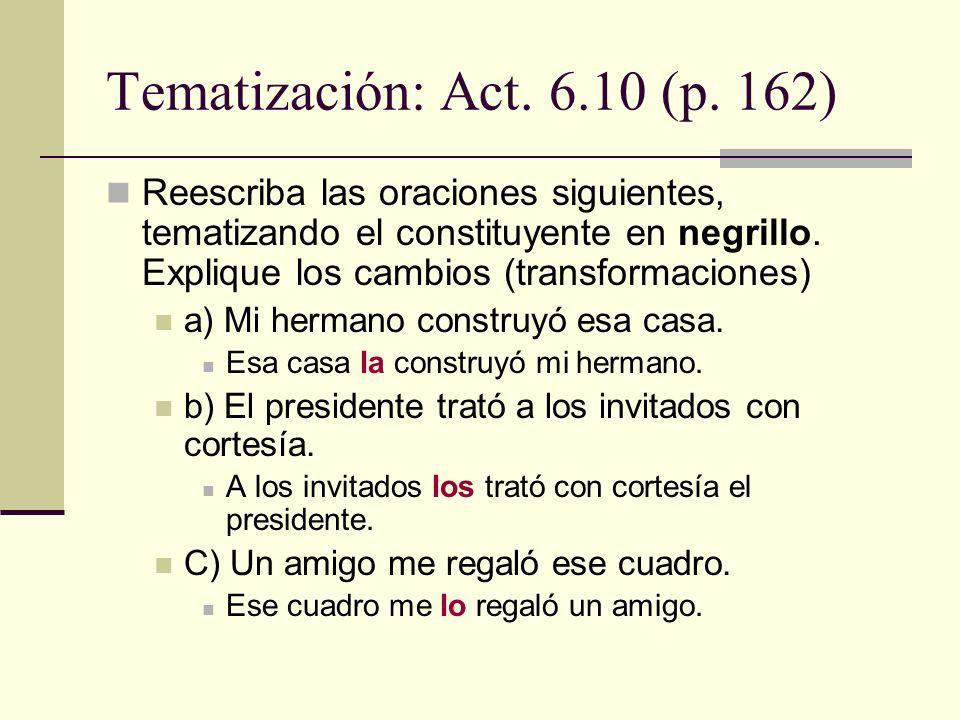 Tematización: Act. 6.10 (p. 162)