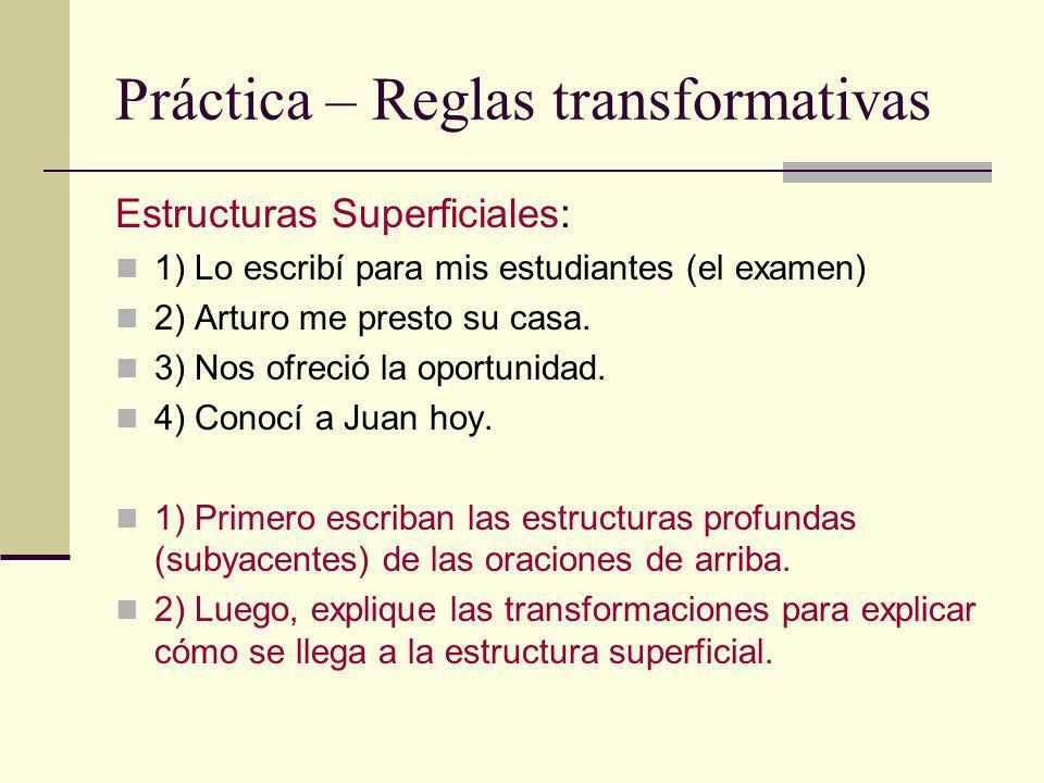Práctica – Reglas transformativas